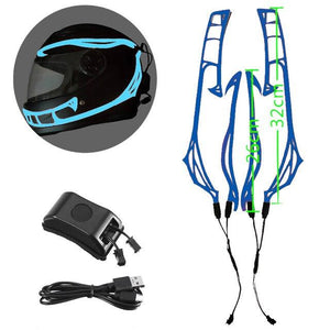 Helmet Cold Light EL Signal Flashing Stripe - Pattern C Life Hack Inventions Blue