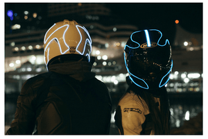 DIY Pattern Helmet Cold Light EL Signal Flashing Life Hack Inventions