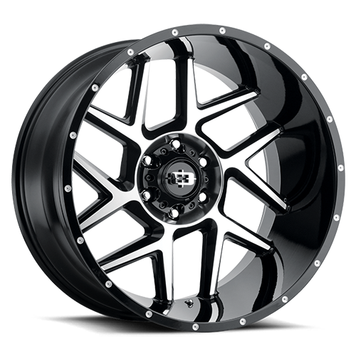 VISION 360 SLIVER GLOSS BLACK MACHINED FACE | 20X9 8X6.5 +12 OFFSET