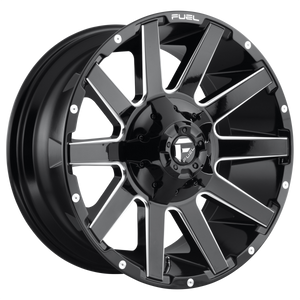 FUEL CONTRA 1PC D615 20X10 6X135/5.5 GL-BLK-MIL -19MM