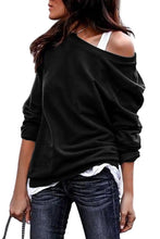 Load image into Gallery viewer, Black Plain One Shoulder Pullover Sweatshirt