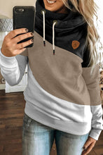 Load image into Gallery viewer, Black Colorblock Cowl Neck Pullover Hoodie