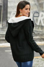 Load image into Gallery viewer, Black Fur Hood Horn Button Sweater Cardigan