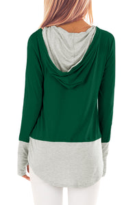 Pinstriped Patchwork Green Thumbhole Sleeved Hoodie