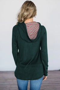 Green Pine&Candy Cane Striped Hoodie