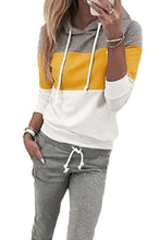 Load image into Gallery viewer, Yellow Drawstring Design Colorblock Hooded Top & Pant Set
