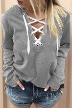 Load image into Gallery viewer, Light Gray Split Neck Lace-up Solid Color Hoodie