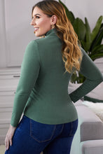 Load image into Gallery viewer, Green Plain Turtleneck Ribbed Plus Size Top