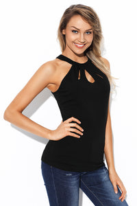 Black Cutout Halter Racerback Tank Top