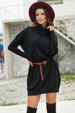 Load image into Gallery viewer, Black Ribbed Cowl Neck Lightweight Sweater Dress