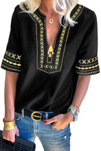 Load image into Gallery viewer, Black Boho Embroidered V Neck Casual Top
