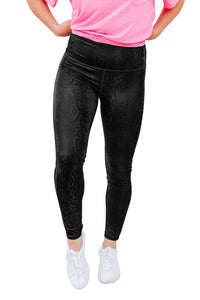 Black Striking Snakeskin Tummy Control Leggings
