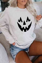 Load image into Gallery viewer, Beige Crew Neck Pumpkin Print Halloween Sweatshirt