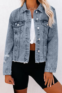 Sky Blue Turn Down Collar Buttons Cut-out Denim Jacket