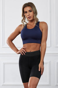 Blue Wireless Performance Knitted Sports Bra