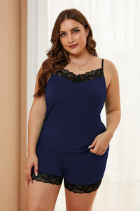 Navy Plus Size Pajamas Set with Lace Trim