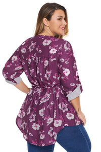 Rose Floral Pintuck Plus Size Blouse