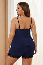 Load image into Gallery viewer, Navy Plus Size Pajamas Set with Lace Trim