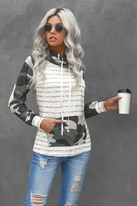 Green Cowl Neck Striped Camouflage Splice Sweatshirt