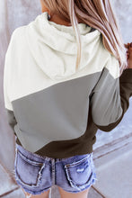 Load image into Gallery viewer, Gray Colorblock Drawstring Hoodie