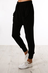 Black Casual Drop Crotch Tapered Leg Pants