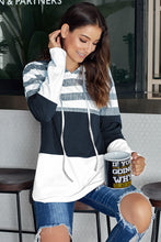 Load image into Gallery viewer, White Speak to Me Color Block Drawstring Hoodie