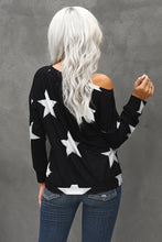 Load image into Gallery viewer, Fashion Five-pointed Star Print Round Neck Black Sweatshirt