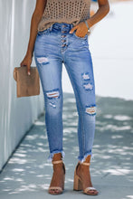 Load image into Gallery viewer, Sky Blue High Rise Button Front Frayed Ankle Skinny Jeans