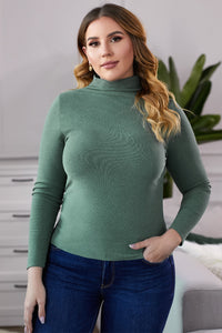 Green Plain Turtleneck Ribbed Plus Size Top