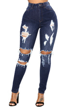 Load image into Gallery viewer, Dark Denim Distressed Skinny Jeans