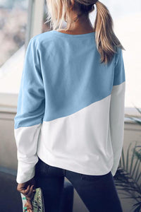 Light Blue Patchwork Dropped Shoulder Sleeve Sweatshirt