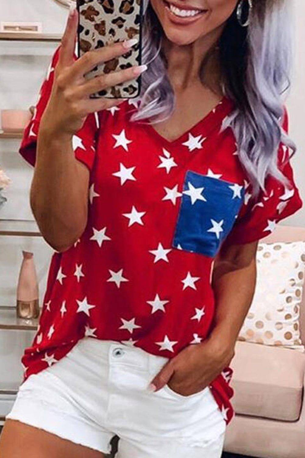 USA Star Print Patch Pocket Red T-shirt