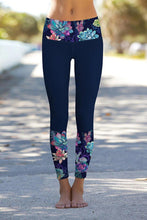 Load image into Gallery viewer, Navy Floral Printed Details Leggings Yoga Pants