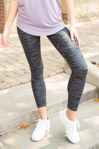 Black High Waist Tummy Control Zebra Stripes Print Leggings