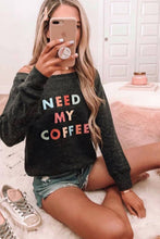 Load image into Gallery viewer, Need My Coffee Pocketed Pullover Black Sweatshirt