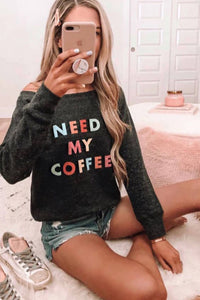 Need My Coffee Pocketed Pullover Black Sweatshirt