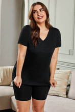 Load image into Gallery viewer, Black Plus Size V Neck T-shirt and Shorts Loungewear