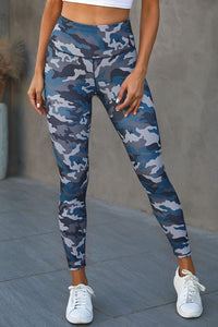 Green Mid Waist Ankle-length Camouflage Leggings
