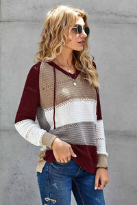 Wine Beach Bonfire Knitted Hoodie