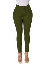 Load image into Gallery viewer, Olive High Waisted Skinny Jeans with Round Pockets
