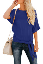 Load image into Gallery viewer, Blue Short Sleeve Crew Neck Bow T-Shirt