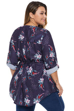 Load image into Gallery viewer, Purple Floral Pintuck Plus Size Blouse