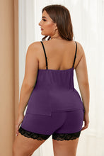 Load image into Gallery viewer, Purple Plus Size Pajamas Set with Lace Trim