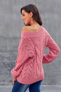 Pink Chunky Oversized Pullover Sweater