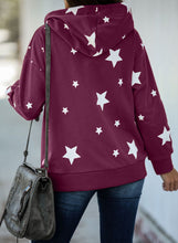 Load image into Gallery viewer, Purple Hooded Cotton Blend Star Sweatshirt