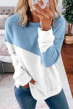 Load image into Gallery viewer, Light Blue Patchwork Dropped Shoulder Sleeve Sweatshirt