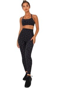 Charcoal Leopard Sports Bra and Legging Set