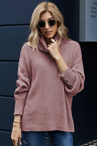 Lantern Sleeve Turtleneck Pullover Sweater