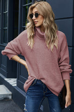Load image into Gallery viewer, Lantern Sleeve Turtleneck Pullover Sweater