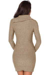 Asymmetric Buttoned Collar Apricot Bodycon Sweater Dress